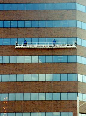 Swing Stage Window Cleaning on Michigan Office Building